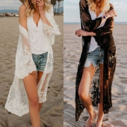 Fashion Long Sleeve Embroidery See-through Gauze Cardigan