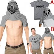 Modisch Bedrucktes Herren-T-Shirt Kurzen Ärmeln und Rundem Ausschnitt