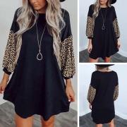 lockere Kleid mit Leopardmuster an den Dreiviertel-Ärmeln