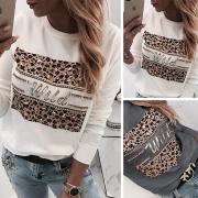 Sweatshirt Rundhals mit Leopardmuster und Zierstrass