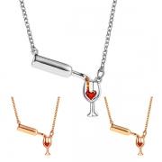 Wunderschöne Halskette mit Weinflasche- und Weinglas-Anhängern