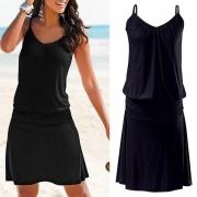 Sexy Schwarzes Kleid mit Freiem Rücken V-Ausschnitt Volltonfarbe und Trägern