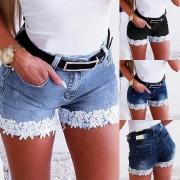 Moderne Jeansshorts mit Hoher Taille Spitzendesign Unregelmäßigem Saum und Schlanker Passform