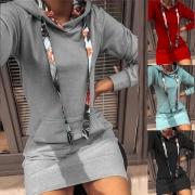 Modisches Langen Sweatshirt mit bedrucktem Design Langen Ärmeln Schlanker Passform und Kapuze