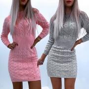 Einfaches Pulloverkleid mit Langen Ärmeln Rundhalsausschnitt und Volltonfarbe