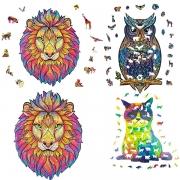Holzpuzzles, Puzzle, Lernspielzeug Bestes Geschenk für Erwachsene und Kinder, einzigartige Form Puzzleteile Majestätischer Eule / Löwe / Katze
