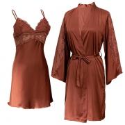 Sexy Seidenes Zweiteiliges Set Nachtwäscheset mit Spitzendesign in Volltonfarbe bestehend aus einem Nachthemd mit freiem Rücken V-Ausschnitt und Trägern + Robe