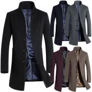 Fashion Herren Wollmantel mit Stehkragen