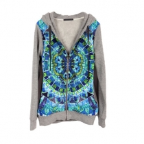 Pop Style Chic Geometric Figure Print Hooded Outerwear