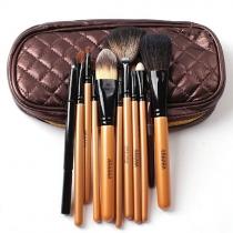 Pinsel-Set mit 10 Stücken für professionelle Kosmetik und Make-up in Tasche