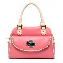 Candy Color Metallic Bowknot Double Handle Tote Shoulder Bag Handbag