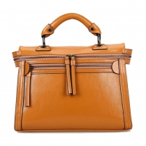 Cool Motor Solid Color Zip Box Bag Tote Handbag Shoulder Bag