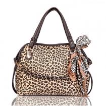 Neueste elegente Schultertasche und Handtasche vom Punkstil mit Leopard und Schmetterlingsknoten