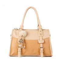 Elegante Handtasche Schultertasche von Kontrastfarbe mit Perlen und geprägten Fransen