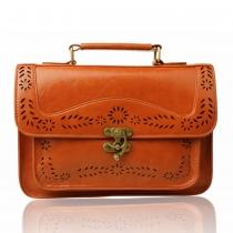 Vintage Preppy einfarbig Blumen Ausschnitt Flap Brieftasche Handtasche