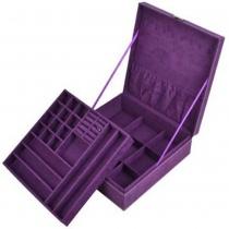 Purpurrote zweischichtige fußelfreie Schmuckschatulle / Veranstalter / Anzeige-Aufbewahrungskoffer mit Schloss und Kloud-Reinigungstuch