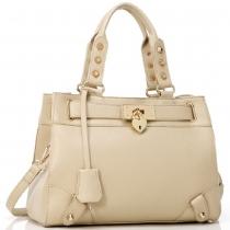 Metallic Rivets Double Handle Tote Handbag Cross Body Shoulder Bag