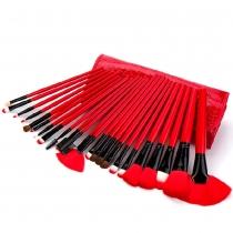 Professionelle Pinsel-Set für Kosmetik und Make-up mit 24 Stücken in Schwarz Rot Kasten-Beutel