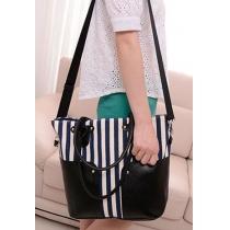 Lässige große gespleißte Umhängetasche Handtasche mit vertikalen Streifen