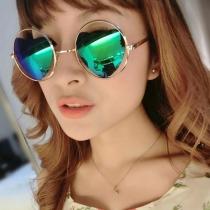 Cute Women Love Heart Mirror Lenses Round Frame Sunglasses Shades