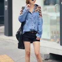 Lässige lösen passende Denim, Hemd, Bluse mit Fledermausärmel und Leopard-Druck