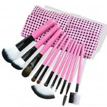 Schönheit 11 Stück Kosmetik-Pinsel mit rosafarbener karierten Tasche
