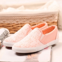 Candy Color Floral Lace Slip On Sneaker Loafer