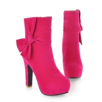Elegant European Style Candy Color Bowknot High-heeled Boots