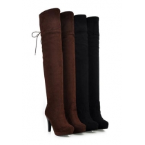 Stylish Chic Pure Color Lace-up High-heeled Over-the-knee Boots
