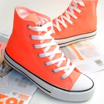 Candy Color Casual Shoes Flat High Top Sneaker