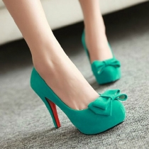 Sweet Bowknot High Stiletto Heel Platform Shoes Pump