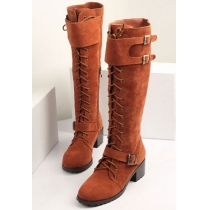 Gespleißter cooler Stiefel (Über Knie) vom römischen Stil mit Gürtelschnalle
