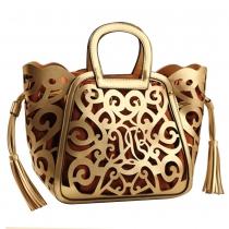 Kreative Geldbeutel-Handtasche, Basket-Tasche, Troddel-Tragetasche mit Druck von Blumen