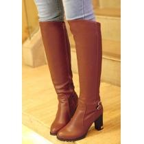 Hochhackiger über-Knie-Stiefel vom Ritter-Stil mit reiner Farbe