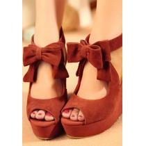Peep-toe Schuhe mit hohen Absätzen und Schmetterlingsknoten