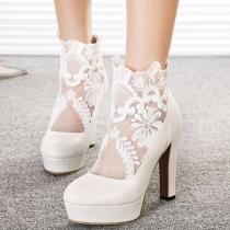 Fashion Spitze-Gaze gespleißte High Heel