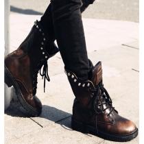 Fashion Martin Boots Stiefelette mit Nieten und Schädel-Muster