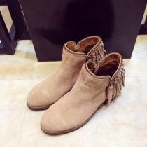 Fashion Wooden Heel Roune Toe Tassels Ankle Booties