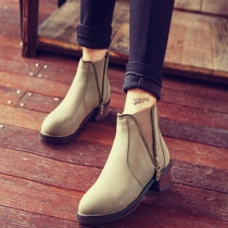British Style Thick Heel Round Toe Ankle Booties