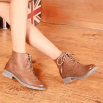 Retro Thick Heel Round Toe Lace Up Martin Booties