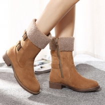 Fashion Round Toe Thick Heel Belt Buckle Warm Booties