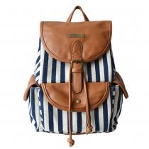 Fashion Contrast Color Canvas Backpack Travelling Bag