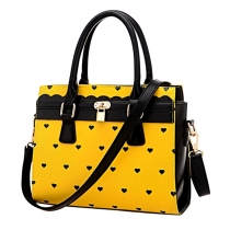 Sweet Hearts Pattern Contrast Color Handbag Shoulder Messenger Bag
