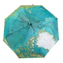 Faltender Umbrella mit Druck von Weltkarte für UV-Schutz / Regen