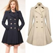 Fashion taillierte Trenchcoat Damenmantel mit 2-reihiger Knopfleiste