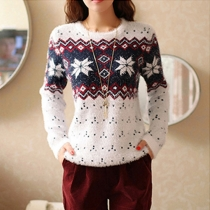 Fashion Contrast Color Snowflake Pattern Long Sleeve Round Neck Sweater