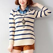 Fashion Stripes Long Sleeve Mock Two-piece Knitting Sweater