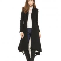 Fashion reine Farbe Langarm Slim-Fit Trenchcoat mit Vokuhila-Saum
