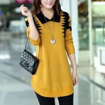 Fashion Contrast Color POLO Collar Long Sleeve Knitted Sweater