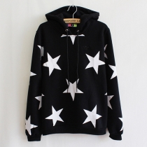 Fashion Stars Pattern Long Sleeve Hooded Casual Sweatshirt